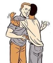 Handshake-clap-on-the-back hug